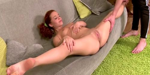 Flexible ginger 18y sucks and fucks cock