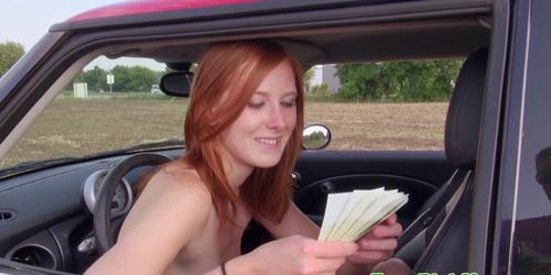 Redhead euro getting naked for cash