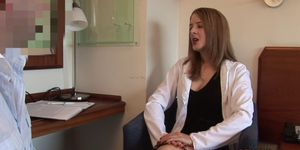 CFNM doctor gives handjob to her patient