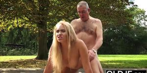 Curvy young blonde fucked hard by old guy doggy style
