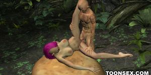 Sexy 3D punk elf babe getting fucked hard outdoors