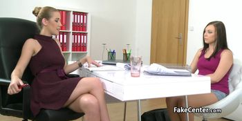 Casting interview ends up with three clothed chicks pissing on each other  81531
