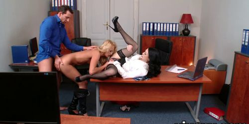 Hardcore anal sex threesome at office