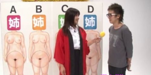 Asian babes showing tits in gameshow