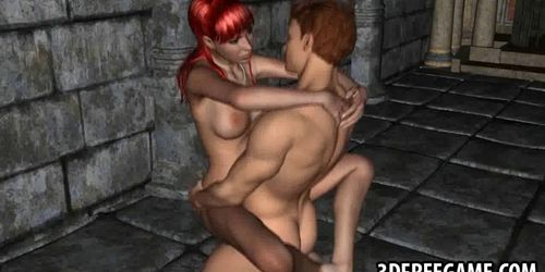 Foxy 3D cartoon redhead babe getting fucked hard