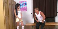 Schoolgirls team audition with her P.E. Teacher
