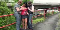 Public group sex in the street