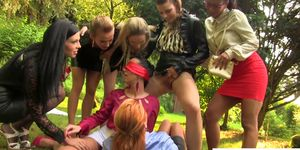 Water sports lesbians drench each other in urine
