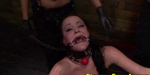 Bound sub dominated with strapon in trio