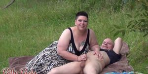 Short Haired Euro BBW Threesome Outside