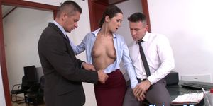 Glam babe ass fucked in the office threesome