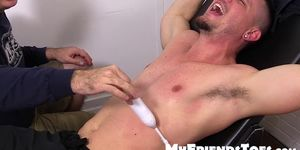 Homosexual jocks gets tickled and tormented by two deviants