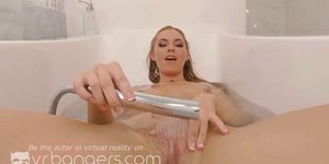 VR BANGERS - Horny blonde chick masturbating in the bathroom