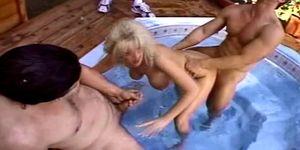 Trashy Blonde Outdoor 3some Swinger