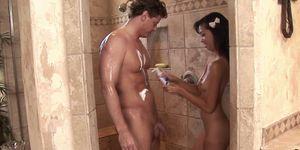 Asian teen sucking dick during erotic massage