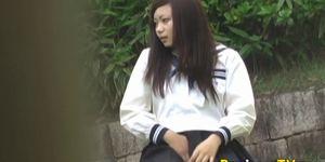 Asian in uniform rubs vag
