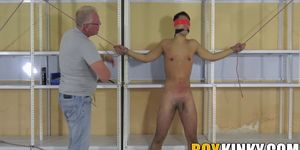 Restrained twink Maxxie Wilde whipped and jerked off roughly