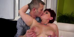 Fat gilf banged in stockings after giving bj