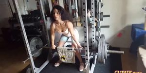 Fitness chick working out in a gym