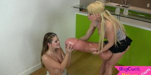 Gorgeous blonde takes long strap on then cums