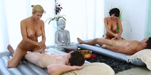 Massage along with sex by two horny Milfs