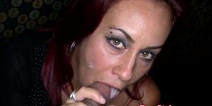 My slutty redhead gf facialized by stripper