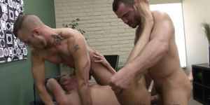 Three muscled studs rough ass banging