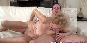 Chunky Granny Sucking Dick for Cum
