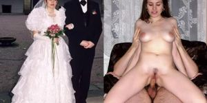 homemade brides dressed undressed and fucked cuckold big tits cock lingerie compilation