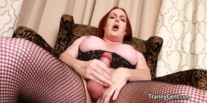 Fat shemale redhead wanks cock solo