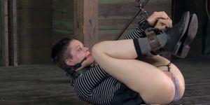 Jackknifed submissives pussy spanked