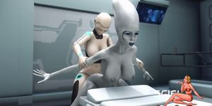 Sci-Fi Female Android Fucks an Alien in Surgery Room in The