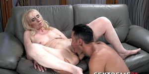 Lustful granny doggy-styled by younger muscular stud