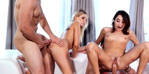Swinger hotties suck and fuck with husbands in foursome