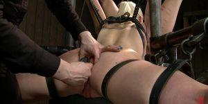 Lesbians bound on device bondage