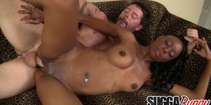 Slim Black Hoochie Brandi Foxx Pleases a White Guy with Her Mouth and Pussy