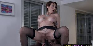 Tattooed big-tits mature deepthroating BBC