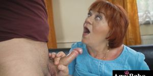 Marsha moans as Rob pounds her vintage cunt