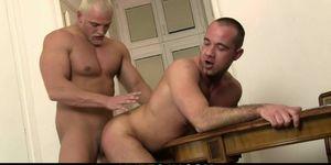 Big blonde hunk drilling his friends ass