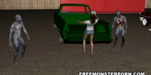Sexy 3D Toon Babe Double Teamed Outdoors by Zombies