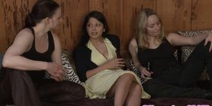 Busty lesbo gets strapon drilled in threeway
