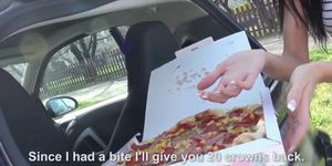 Euro pulled pizza babe gets her slice stuffed Porn Videos
