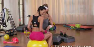 workout lesbian into sex turns Gym