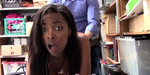 Busty Teen Ebony Shoplifter Facialized