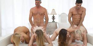 Petite Mormon Girls Fucked Passionately in Wild Orgy