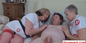 Trisha and Savanna rub lick and blow on Trickles dick