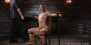 Gagged blindfolded slave got vibed