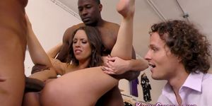 Cuckolding Mistress Babe Gets Spit Roasted