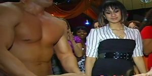 Babe pussy fucked by stripper at party