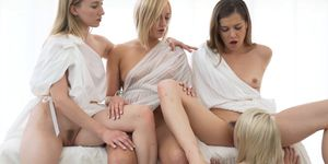 Shy Mormon Girl with Tight Body Fucked by Three Hot Lesbians